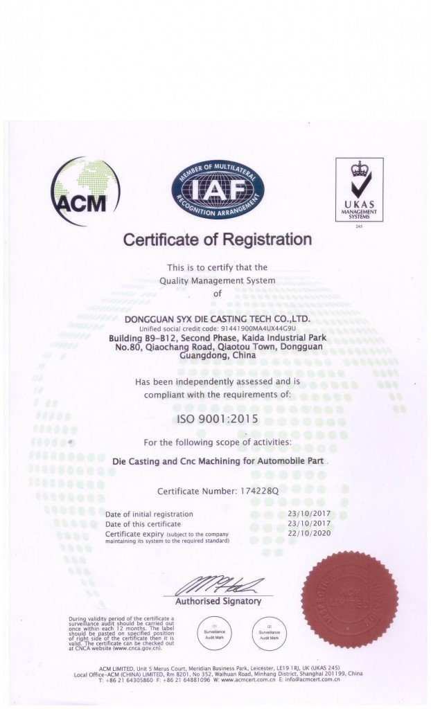 ISO9001 die casting company